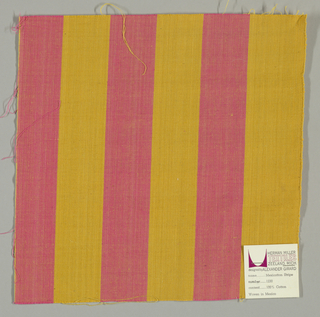 Plain weave in wide vertical stripes of pink and gold.