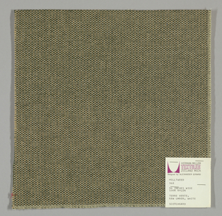 Tweed-effect plain weave in olive green, off-white and beige. Warp is comprised of olive green yarns while the weft yarns alternate between off-white and beige. Number 368.