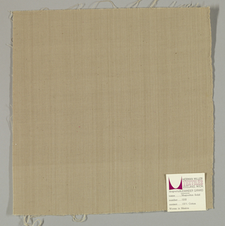 Plain-woven cotton in beige. Slight variations in the color of the warp threads give a subtle stripe effect. Number 1210.