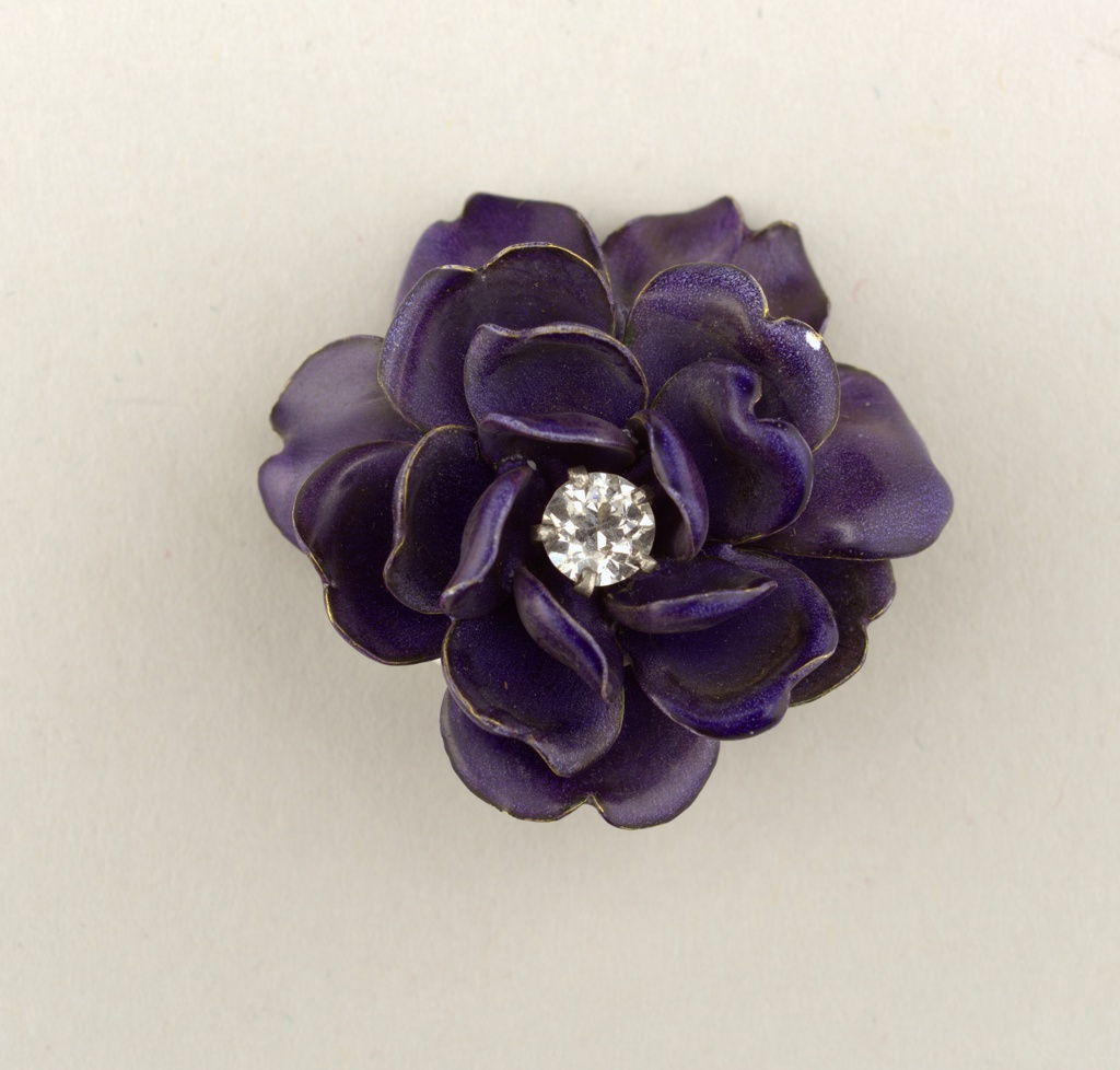 Brooch in the form of a Purple Flower Brooch, ca. 1900