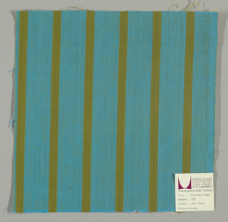 Plain weave with a turquoise ground and narrow vertical olive green stripes.