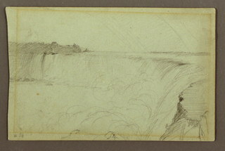 Drawing, Horseshoe Falls with a Double Rainbow, Niagara River, Canada