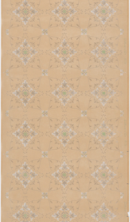Tile-like pattern with alternating rows of open diamond shapes and circles decorated with scrollwork and fleur de lis motifs. Fine grid of metallic dots is printed over entire paper, giving piece a textured appearance. Design printed in light grays and green on dotted background, on ungrounded paper.