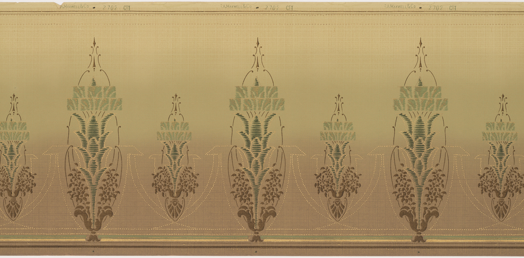 Repeating, stylized tall buds connected by delicate swags of gilded dots. Printed in tan, light green, forest green and gilt.