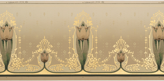 Alternating stylized art nouveau-like tulips with stem and smaller tulip topped with linear gilt, geometric motif. Each large tulip motif is surrounded by snake-like branches with small flowers and leaves in gilt. Printed in gilt, cream, dark green, brown and rose-brown on a gray ground.