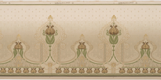 Art Nouveau style. Stylized tulips, alternating between large and small, encircled by delicate swirls. Row of tulips run along the bottom. Background consists of a series of silver dots which become more spread out as it fades from the bottom to the top. The dots at the top are mized with small leafs. Printed in gold, silver, and shades of green.