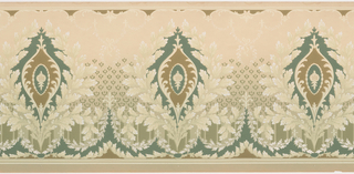 "Medallions framed by laurels. A swag of acanthus leaves runs across the bottom while undulating ""C"" curves run across the top. Printed in white, and shades of green and turquoise on tan ground that shades to green at bottom."