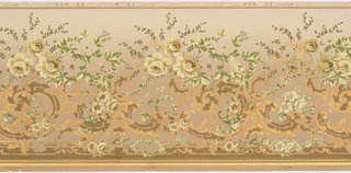 Scattered large gilt rinceaux with loose bouquets of yellow wild roses and branches at the top of the rinceaux. Row of beading across bottom. Printed in gilt, shades of green, pale yellow, brown, copper and mustard on a tan ground.