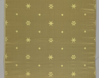 Patterns of stars, dots, and rosettes of golden-yellow widely dispersed on a deeper golden-yellow satin ground. Designed and manufactured by Scalamandré to be used with Federal American furniture.