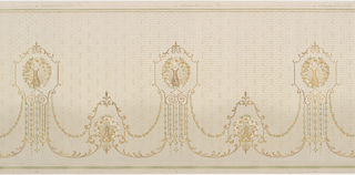 Medallions, alternating in shape, with a vase-like shape in the center, surrounded by a wreath of flowers. The medallions are connected by two swags, one a series of flowers and leafs, the other a series of delicate acanthus leafs. The background contains a faint pattern of leafs and small dots. Printed in gold, white, and shades of green.