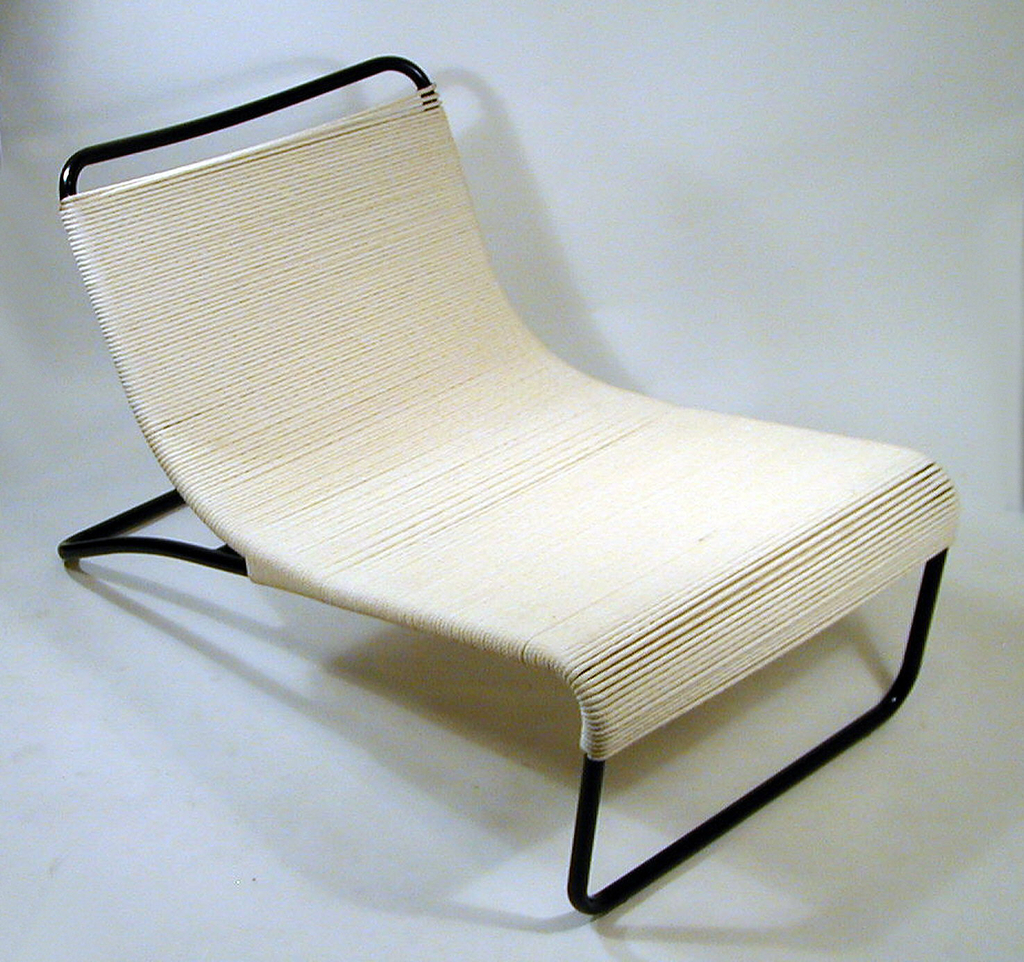 Enameled tubular steel base and and cotton wrapped upholstery. Manufactured by Van Keppel-Green.
