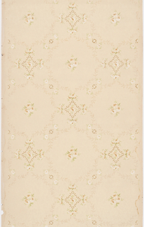 Repeating pattern of white rose blossoms contained within auricular diamond shaped border and surrounded by floral nosegays and chains of foliate festoons. Design is printed in khaki, white and light brown on beige ground.