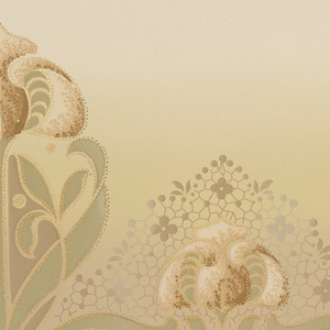 Art Nouveau style. Stylized tulips, alternating between large and small. Background fades from dusty green at the bottom to a light yellow-green at the top. Printed in silver and shades of green, brown, and beige.