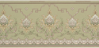 Alternating large and small foliate medallions. The small medallion connects to an undulating line which breaks into a key pattern and has accents of acanthus leaves. A series of large flowers runs across the bottom. Printed in white and shades of green.