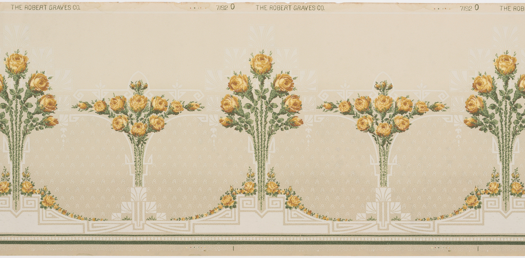 Stylized floral bouquets alternating tall bouquets by wide bouquets. COmposed of yellow roses, each bouquest is on a pedestal and has a shadow-like framework behind it.