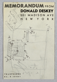 Rough sketch on Donald Deskey memo sheet of wall elevation for Jascha Heifetz game room and bar in New York, NY. At right, tripartite wall elevation features fireplace at center with tiled floor at front. At right, cross indicating placement of light fixture; at left, second cross for light fixture above gridded rectangle, possibly indicated piece of furniture, built-in, or additional tile work. In graphite on verso, additional rough sketches of baseboard details.
