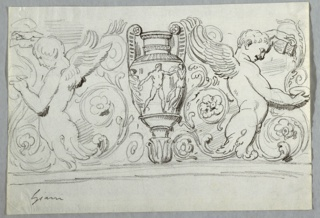 Drawing, Sculptured Frieze with Amphora between Two Half Figures of Boys Pouring Water from Pitcher into Bowl, late 18th century