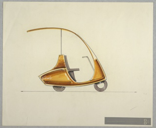 "Design for scooter with two or three wheels and extended windshield seen in side profile. Vehicle features rusty orange body that tilts slightly upward at front. Windshield extends upward and gently curves over driver's seat (possibly a bench), stretching rearward to provide protection from the elements and supported by a slender pole behind seat. Operated by steering column with yoke; pedals not shown. At rear, a compass ""logo"" is positioned directly behind the driver, while further down ""Coventry"" is inscribed in white script. Rear bumper features jet-age, upward-angled silhouette. Donald Deskey Associates adhesive stamp at lower right."