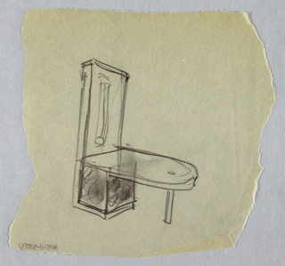 Drawing of cantilevered desk, attached to wall or cabinet unit on left side. Right side of desk is curved, supported by one straight leg. Unit attached to desk on left side has vertical lighting fixture on upper portion.