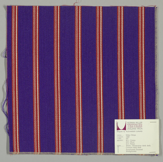 Warp-faced twill weave in wide vertical stripes of violet alternating with narrow stripes of red and white.