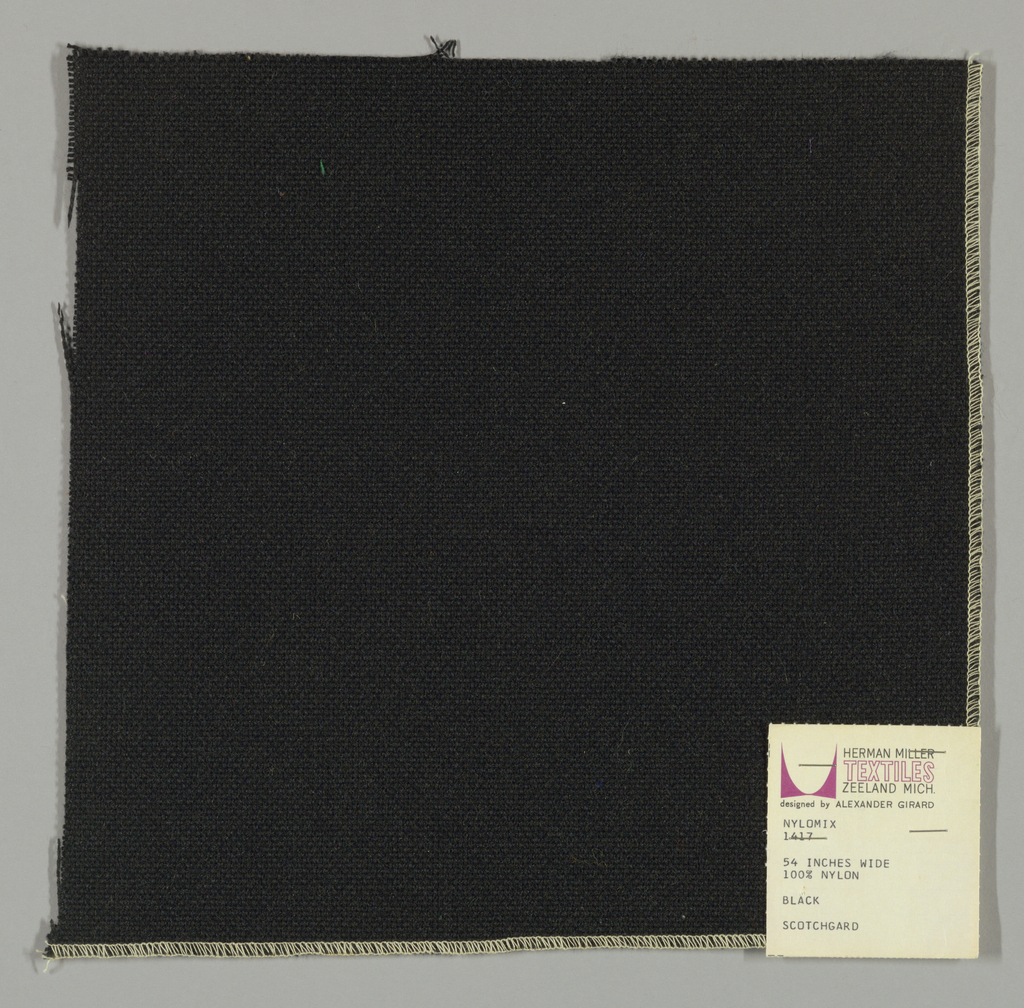 Plain weave with black warp and weft.