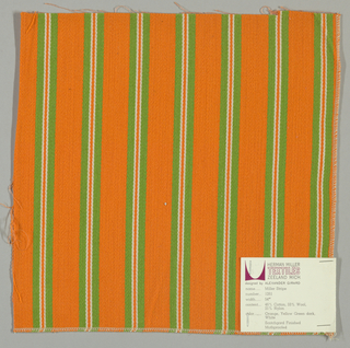 Warp-faced twill weave in wide vertical stripes of orange alternating with narrow stripes of green, white and orange.