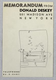 Rough sketch on Donald Deskey memo sheet of wall elevation for Jascha Heifetz game room and bar in New York, NY. At right, wall elevation with dimensions shows door at right and cross indicating placement of light fixture at center.