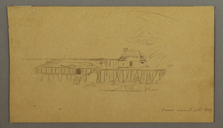 Drawing, House and dock, possibly 1859