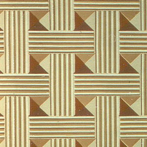 All-over pattern of basket-weave with inset bosses. Printed in reds and ocher on ocher ground. Possibly parquet design.