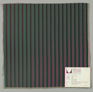 Warp-faced twill weave in vertical stripes of dark green alternating with narrow stripes of magenta and black.