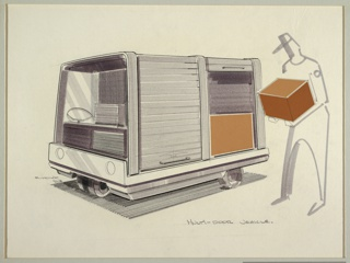 Horizontal rectangle. At left, design for an asymmetrical gray three wheel truck with one large wheel at front center of the vehicle and two smaller wheels at the back. Front of the car enclosed with seats for driver and passenger with large open windshield. Back of the truck consists of enclosed storage compartments with tamboor cargo doors. Headlights centered on front of truck. At right, outline of a male figure in gray marker wearing a hat and holding a large rectangular box. Graphite signature at center left and inscription at lower right.