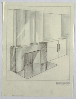 Design for fireplace wall mantel for Jascha Heifetz apartment. Rectilinear fireplace with reflective surface, either tile or polished stone. Smooth, undecorated surface above fireplace. Adjacent two-door cabinet to right of fireplace. Handles for cabinet are narrow and rectilinear.