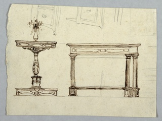 At left, table with square top, supported by baluster. Flower and vase set on table. At right, oblong table supported by four fluted columns. At upper edge, right part of chest of drawers, upper part standing on legs. Verso: shown vertically, three chimerae supporting top, which seems to be bordered by railing. In middle rises pavilion with trellis.