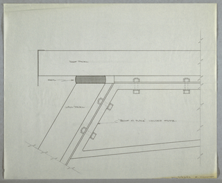 "Design for modular wall system, truss brace detail. Partial elevation detail describes attachment of triangular truss brace to wall and roof panels of prefabricated modular, trapezoidal structure. From top to bottom, components are as follows: roof panel; seal; wall panel; ""bolt in place"" welded frame. Signed in graphite at lower right: ""2/28/62 E/ HOYT""."