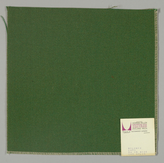 Plain weave with green warp and olive green weft.