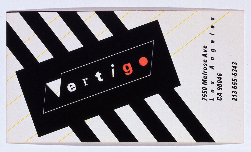 Business card in black and white, with diagonal stripes. Text in white and red: Vertigo. Right, in black: 7550 Melrose Ave / Los Angeles / CA 90046 / 213 655-6343.