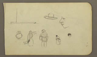 Drawing, Boat, figures; Verso: Church in a valley, 1890–93