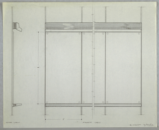 Design for wall-mounted combination easel for Donald Deskey Associates' office. At left, side view details object profile with hood for light above and tray for utensils or presentation boards below. At right, partial front elevation shows panels and mounting strips. Signed in graphite at lower right: E. HOYT 3/26/62.