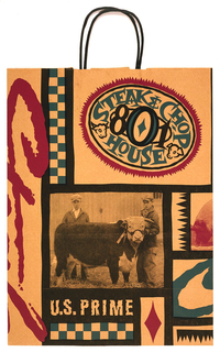 Shopping bag with photograph of a cow and graphics, imprinted on natural brown paper: 801 / Steak & Chop /  House; below outlined with black: U.S. PRIME.  Recto: photograph of two men and cow; verso: photograph of boy and pig. Side panel: address of restaurant, including Des Moines, Iowa.