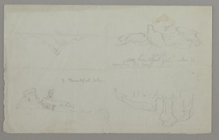 Four sketches of seascapes with icebergs. Verso: notes.