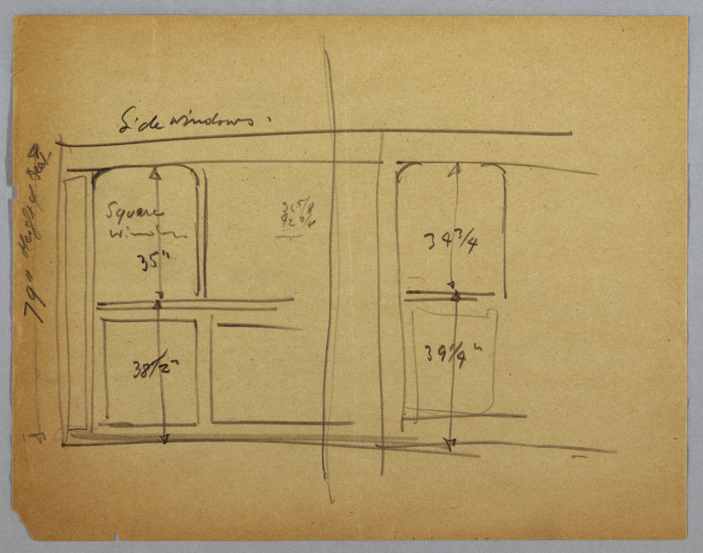 Wall elevation of dining salon on the Lady Esther Yacht. Four curtained windows above decorative panel inset in wall. Separating windows are decorative columnar borders or panels, two borders at center with wall sconce at top. Unidentifiable sketch at bottom.