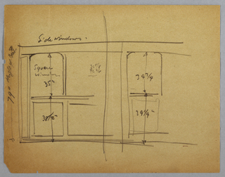 Wall elevation of dining salon in the Lady Esther Yacht. Four curtained windows above decorative panel inset in wall. Separating windows are decorative columnar borders or panels, two borders at center with wall sconce at top. Indecipherable drawing at bottom.