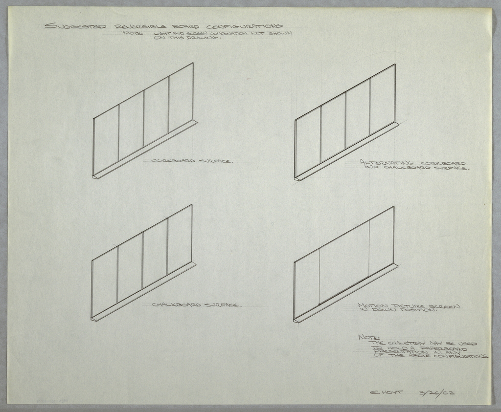 Designs showing suggested reversible board configurations for wall-mounted combination easel, projection screen and chart storage unit for Donald Deskey Associates' office. Four perspective showing corkboard surface (upper left), alternating corkboard and chalkboard surface (upper right), chalkboard surface (lower left), and motion picture screen in down position (lower right). Basic structure consists of four panels. Annotated in graphite, and signed and dated in the same at lower right: E. HOYT 3/26/62.
