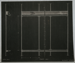 Photostat of design for wall-mounted combination easel for Donald Deskey Associates' office. At left, side view details object profile with hood for light above and tray for utensils or presentation boards below. At right, partial front elevation shows panels and mounting strips. Signed in graphite at lower right: E. HOYT 3/26/62.