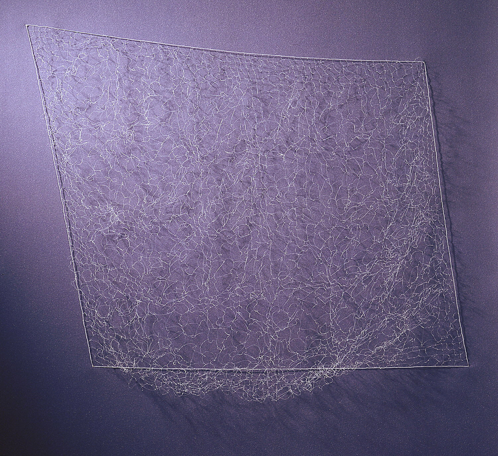 Square hanging of knotted clear fishing line, with a slight drape to project off the wall.