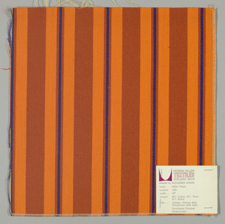 Warp-faced twill weave in vertical stripes of dark orange alternating with narrower stripes of orange, dark orange and blue.