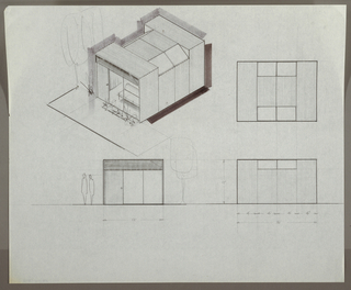 Design for prefabricated modular house: three exterior elevations and one perspective. At upper left, perspective shows small modular structure with rectilinear front entry and rear sections, and middle section with slanted window panes on either side of flat roof of equal height to front and rear sections. Just inside large front glass windows, vertical paneling and armless sofa can be seen. Garden planted at front with trees and greenery at left. At upper right: side elevation; at lower left: front elevation with two figures at left; at lower right, additional side elevation.