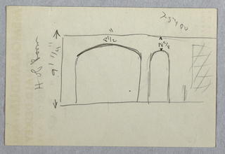 Rough sketch on Donald Deskey memo sheet of wall elevation for Jascha Heifetz apartment, probably for game room and bar. Elevation with dimensions shows double-width arched portal at left and single-width portal at right. Window (?) at far right. On verso, L-shaped graphite sketch.