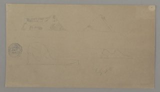 Seascape drawing with four sketches of floating icebergs.