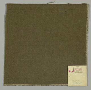 Plain weave with brown warp and olive green weft.